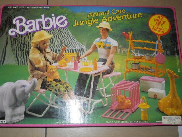 Barbie ANIMAL CARE JUNGLE ADVENTURE Playset w 47 Pieces & Diorama (1987 Arco To