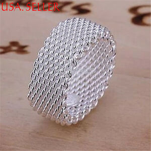 925-Sterling-Silver-Somerset-Mesh-Chain-Linked-8mm-Finger-Ring-Size-3-11-Y022