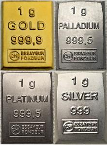 1-Gramm-Barren-Platin-Gold-Silber-Palladium-Geschenk-Wertanlage-Hochzeit