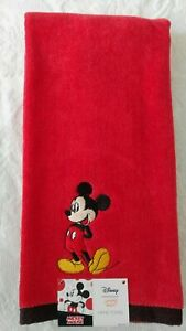 Disney-Mickey-Mouse-Hand-Bath-Towel-Plush-Red-with-Black-Trim-100-Cotton-NWT