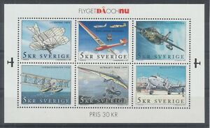 Sweden-Sc-2421-MNH-2001-Aviation-Souvenir-Sheet-of-6-fresh-bright-VF