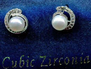 Rhodium-Plated-Micro-Pave-CZ-amp-White-Faux-Pearl-Stud-Earrings