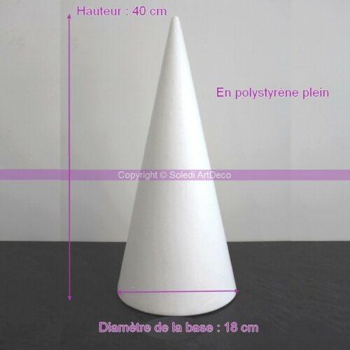 Cone en polystyrène Plein Support Styro Diamètre de base 18 cm Hauteur 40 cm