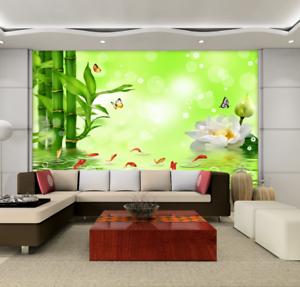 3D Bambus-Fischteich 75 Tapete Wandgemälde Tapete Tapeten Bild Familie DE Summer