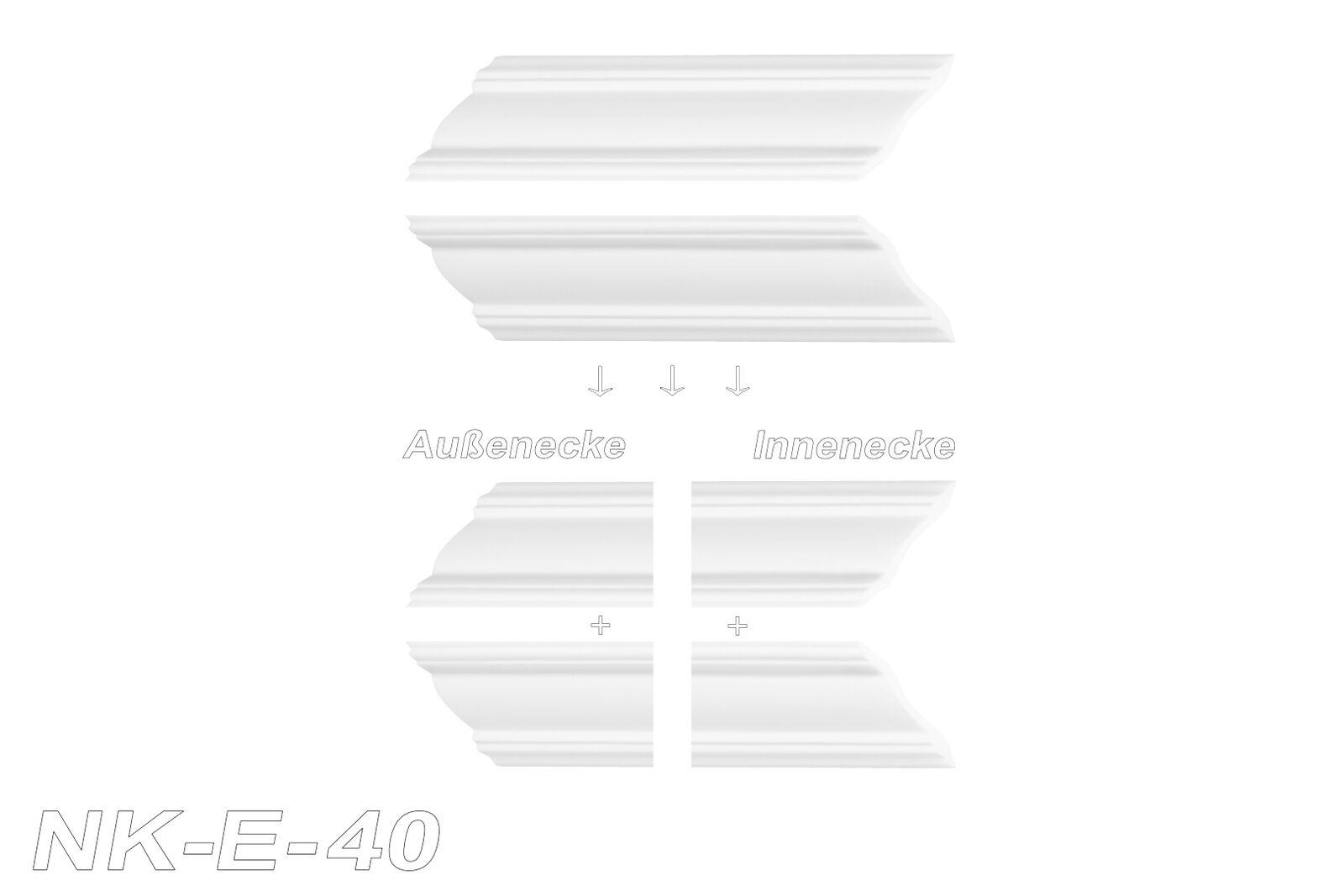 10 Meter Stuckleisten Zierleisten Eckleisten stabil XPS Marbet 50x50mm E-43