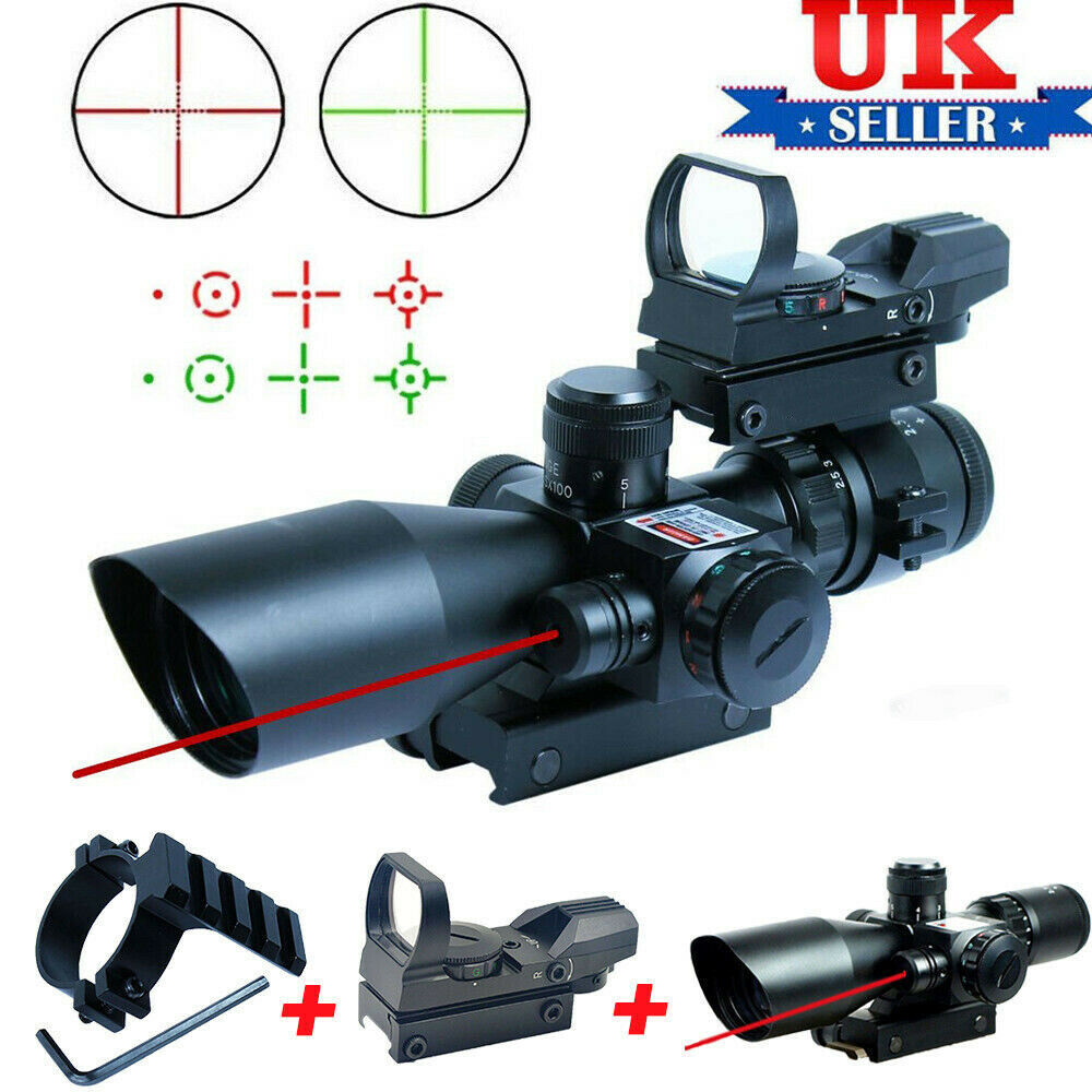 Tactical Hunting Red Green 2.5-10x40 Scope&Red Laser With 4 Reticle Scope Mount