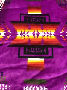 Native-American-Navajo-Print-Pendleton-Style-Blanket-Reversible-PurpleBlk-Queen
