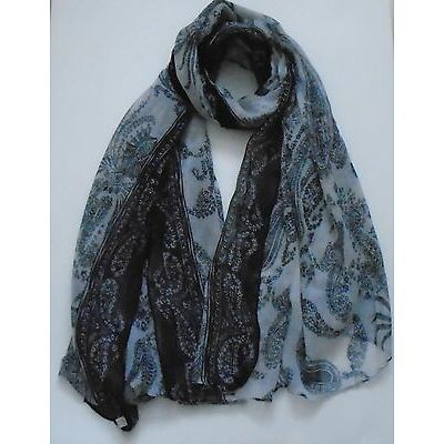 Women Lady porcelain printed Soft Long Large Wrap chiffon viscose Shawl  Scarf .