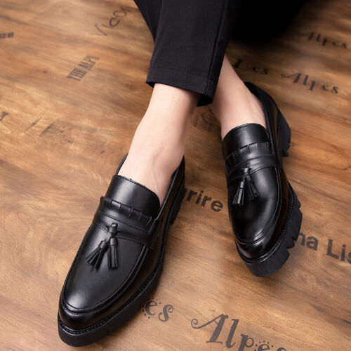 Details about  /Mens Low Top Faux Leather Shoes Tassels Oxfords Slip on Business Work Black 44 L