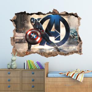 3D Marvel Avengers Captain America Hole In Wall Sticker Art Decal Decor Kids