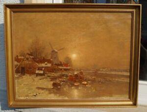 Johann-JUNGBLUTH-1860-1912-Duesseldorfer-Schule-Niederlande-im-Winter-Rhein