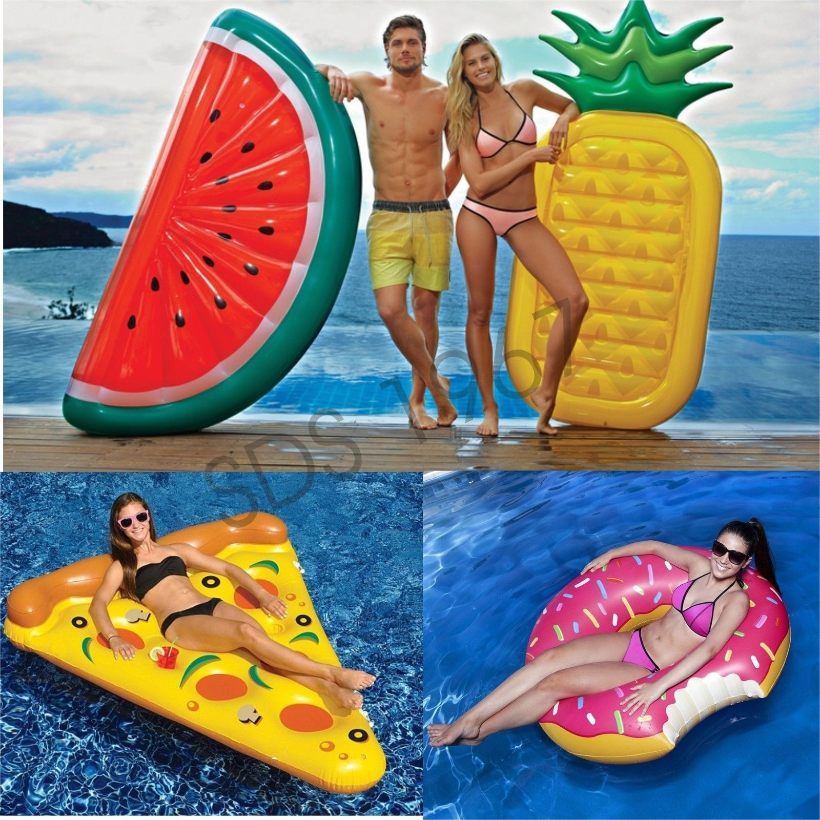 Adult Swim Water Toy Watermelon Pineapple Pizza Doughnut Inflatable Float Pool Ebay