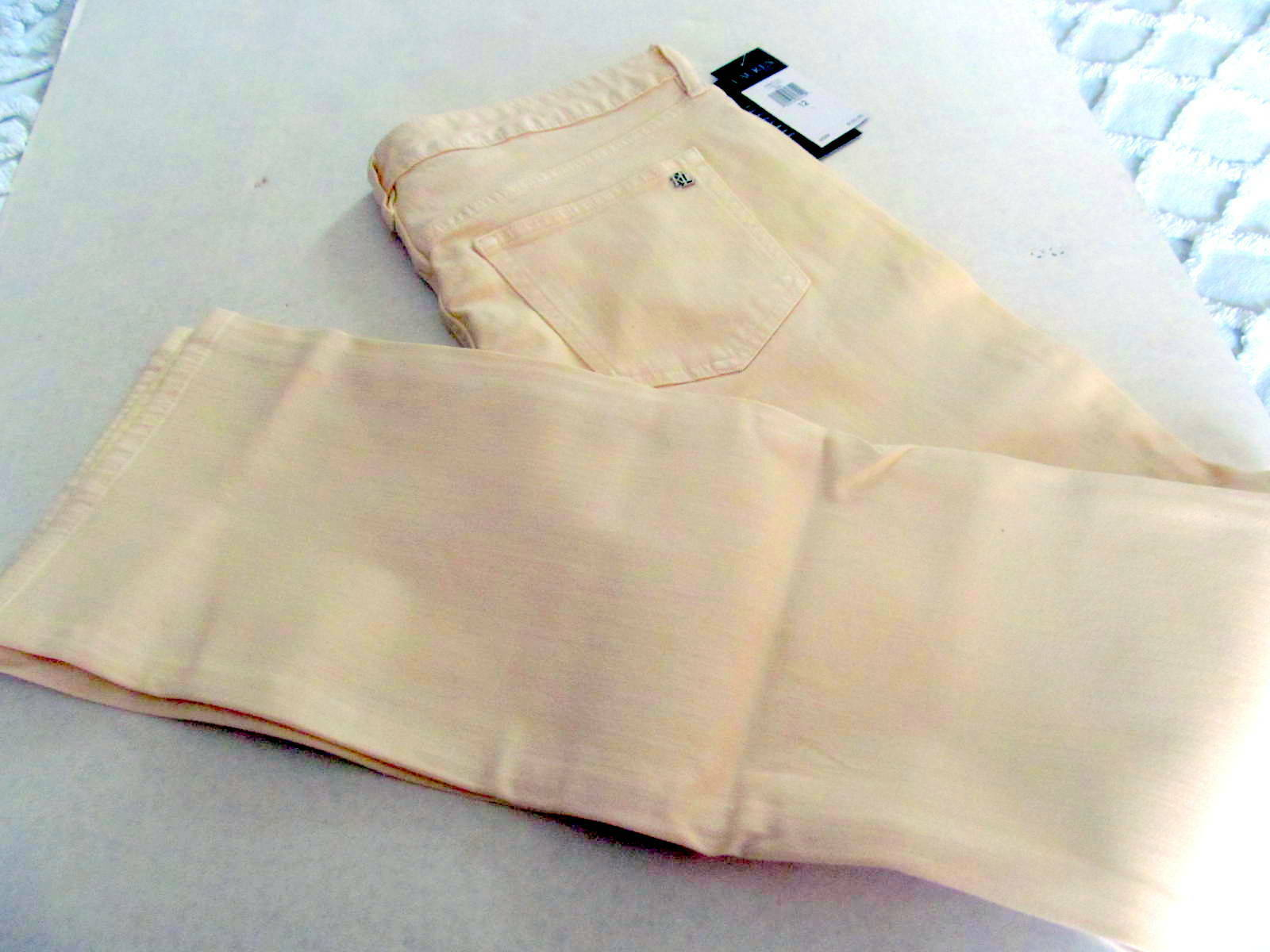 New Lauren Ralph Lauren Coated Straight Leg Jeans in Pearl Powder Sz 12  125