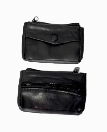 LADIES MEN REAL BLACK LEATHER COIN POUCH WALLET ZIPPER KEYRING 2 zips 1 button