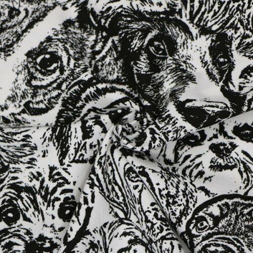Coton élasthanne stretch Tissu Jersey chien visages Chiots Chiot Animal Pet