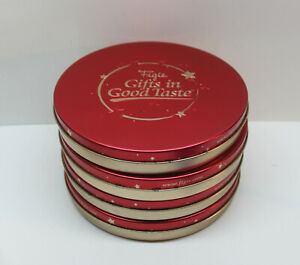 "⭐ Lot of 4 Vintage Figis ""Gifts in Good Taste"" Red w/ Gold Stars Tins 8-1/2"""