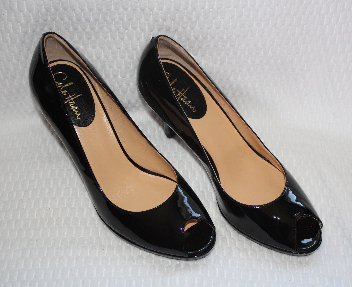 COLE HAAN CARMA OT AIR PUMP BLACK PATENT  10us  275
