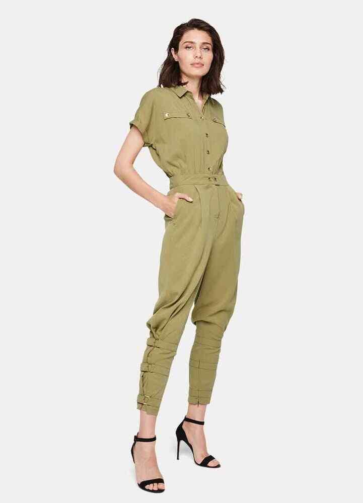 Bnwt Damsel In A Dress Par Phase Eight Violia Conique Combinaison Kaki Uk 8 Rrp £ 169