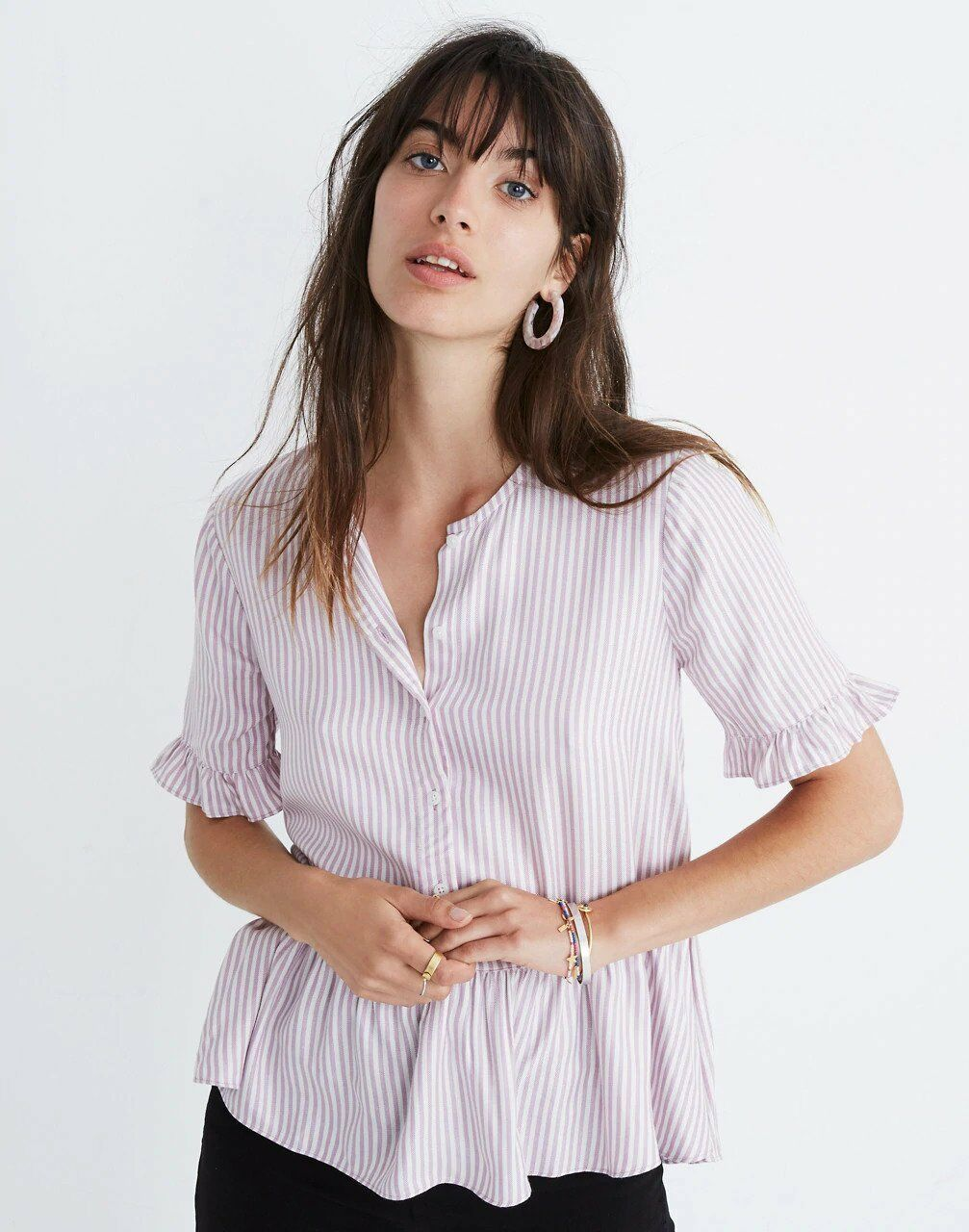 damen Madewell Studio Ruffle Hem Top In Lavender Stripe Größe S