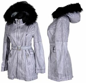 Zu Kapuze Kunst 42 46 Damen Jacke Blau Mantel 44 40 Winter 48 Gefüttert Leder Details Fell PXZuOki