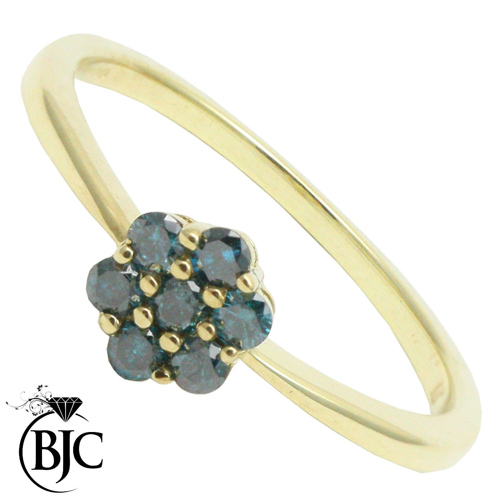 BJC® 9ct yellow gold bluee Diamond 0.21ct size O Cluster engagement ring R82