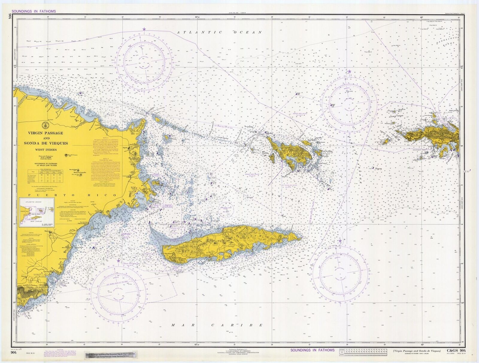 Puerto - Map Passage Islands Rico to St. Thomas Historical ...
