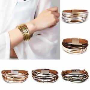 Fashion-New-Multi-layer-Punk-Leather-Bracelet-Bangle-Fashion-Women-Men-Jewelry