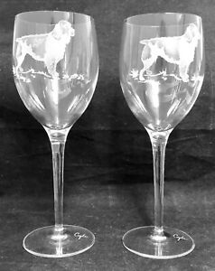 RARE-Limited-Edition-Coyle-Etched-Glass-2-St-Bernard-Goblets-EXCELLENT
