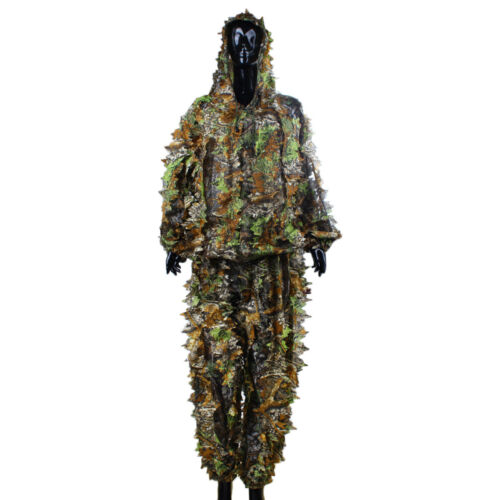 Ghillie Suit 3D Leafy Tactical Camo Camouflage Camping Clothing Woodland Jungle