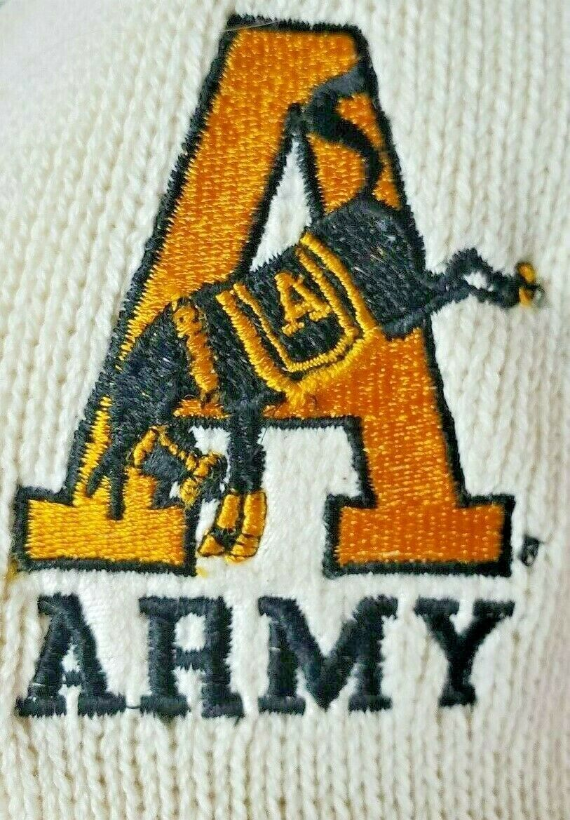 Andrew Rohan XL VTG NWT West Point Army Mule baumwolle Cable Knit V-Neck schweißer