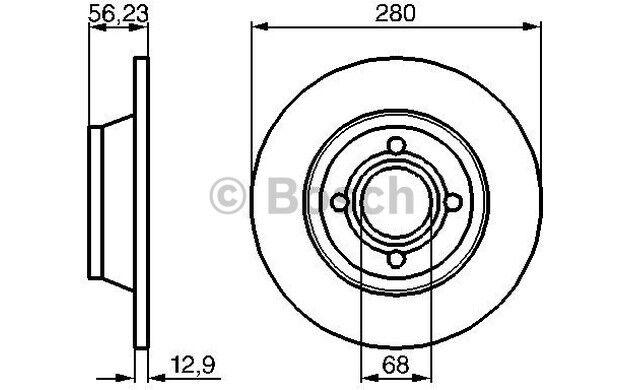 BOSCH Juego de 2 discos freno 280mm AUDI 80 0 986 478 131