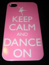Ballerina Cover Case for iPhone 4 4s Keep Calm And Dance On Pink Background Case