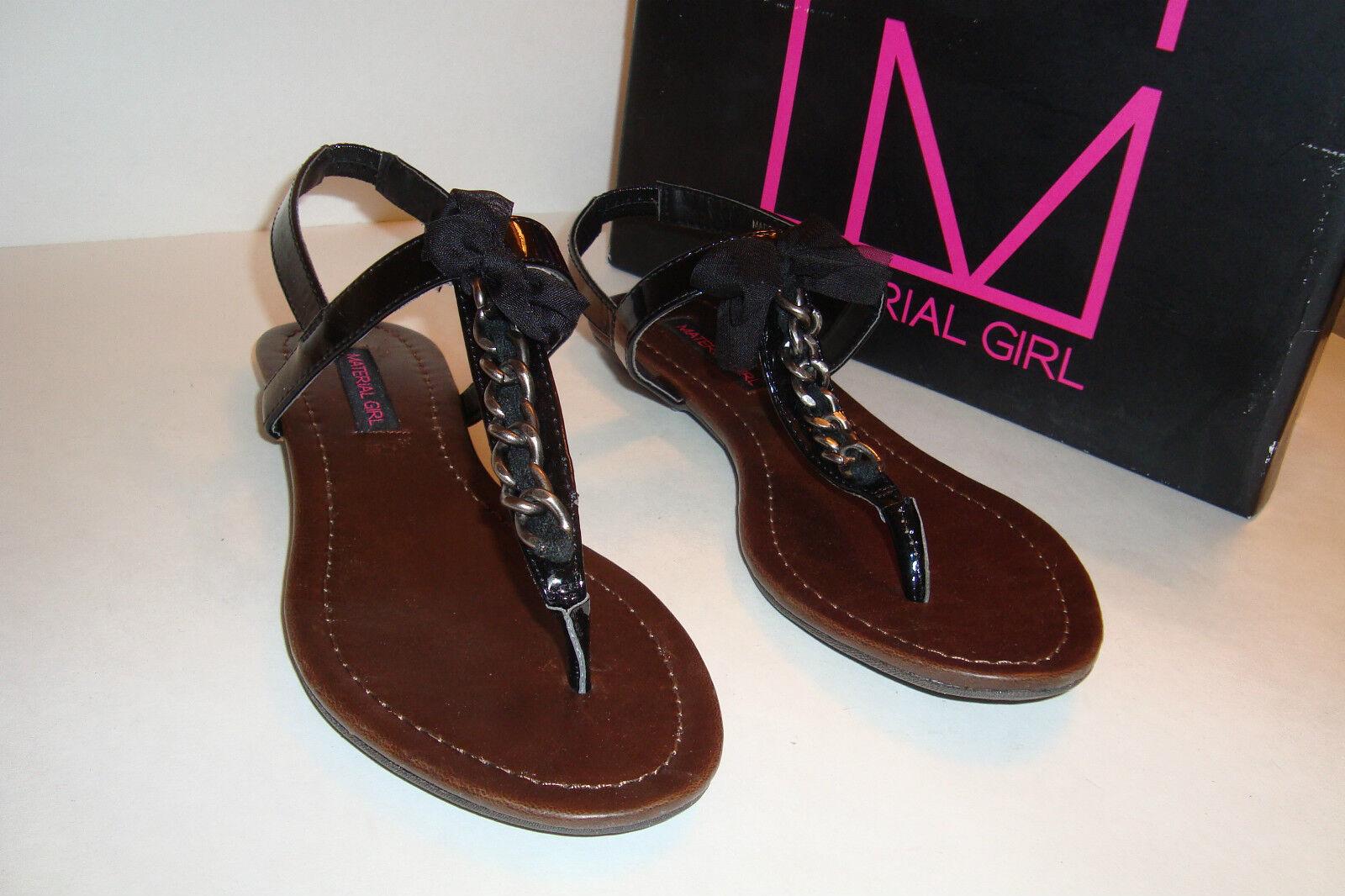 Material Girl mujer NWB NWB NWB Hielo Negro Patente Sandalias Zapatos 6 MED Nuevo  compras en linea