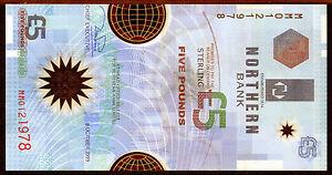 Northern Bank Ltd Belfast £ 5 Cinq Pound Billet Plastique Polymère Argent 1999 2000-afficher Le Titre D'origine Jeknwwer-08001439-809918463