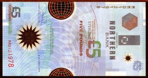 Northern Bank Ltd Belfast £5 five pound banknote plastic polymer money 1999 2000