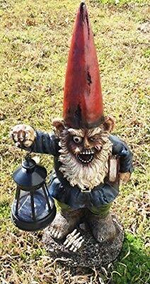 "Garden Gnome with Book and Solar LED Light Figurine 19/"" Tall DWK Garden Decor"