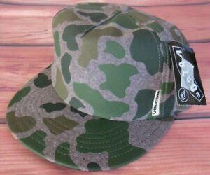 Herren-Volcom-Camouflage-Muetze-Snapback-Verstellbare-Kappe-One-Size
