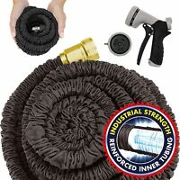 150FT Expandable Garden Hose Flexible Pipe Expanding +Spray Gun Heavy Duty Black