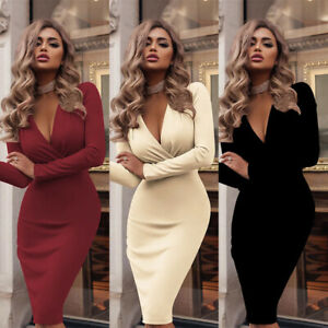 Long-Sleeve-Party-Bodycon-Evening-Club-Cocktail-Womens-Mini-Dress-Casual-V-Neck