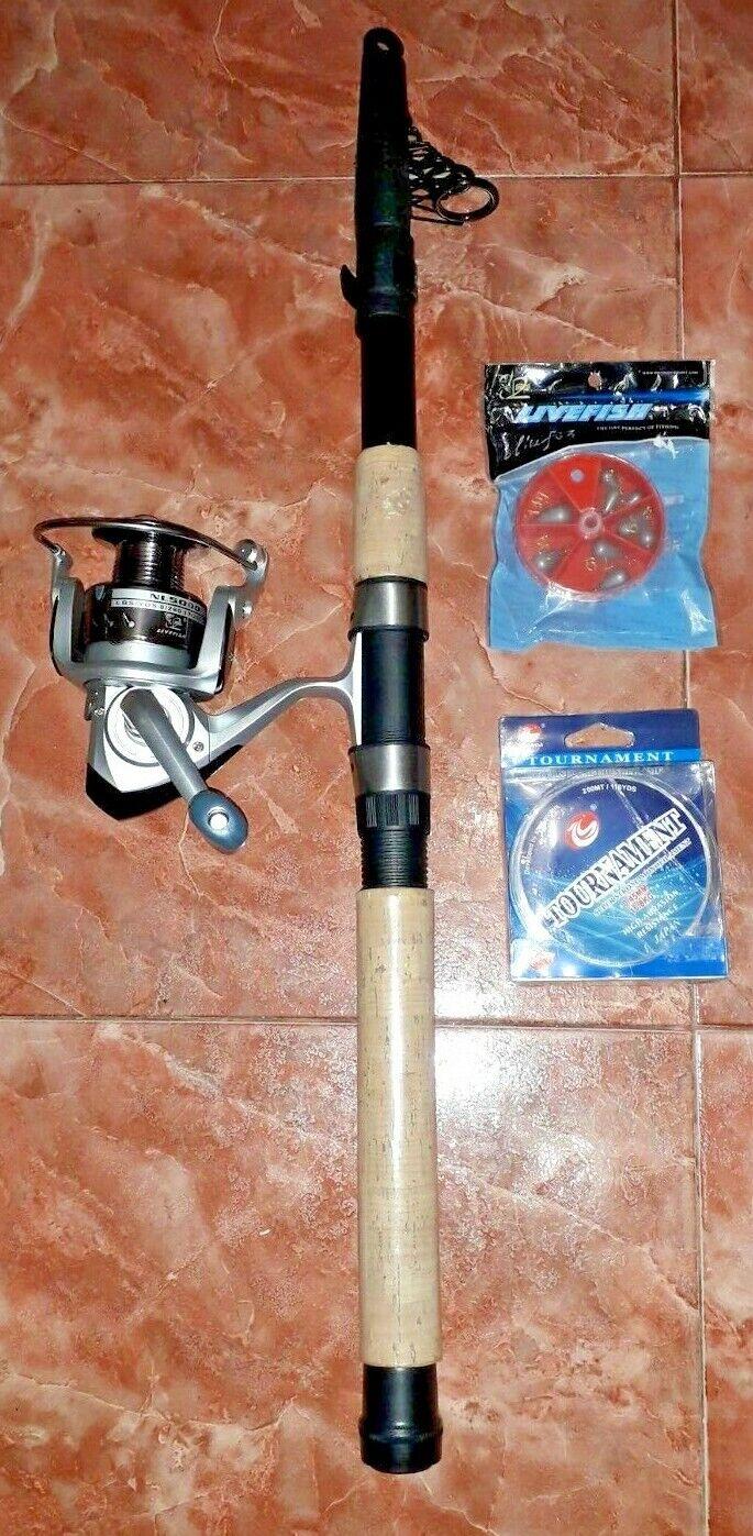 KARASU Caña Pesca 0,60M 3,3M+Carrete Livefish NL5000+Hilo 200M 0,45mm+Plomadas