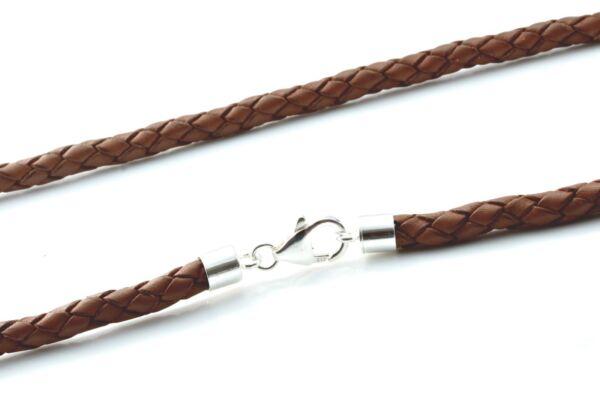100% Wahr Herren 5mm Original Geflochten Leder Halskette-sterling Silber Verschluss -