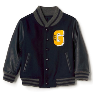 40482a802923 BABY GAP BOY FAUX LEATHER VARSITY JACKET NWT 2T 3T N9 NNN