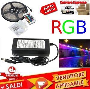 KIT-STRISCIA-LED-SMD-RGB-IP65-5-METRI-BOBINA-CON-ALIMENTATORE-E-TELECOMANDO