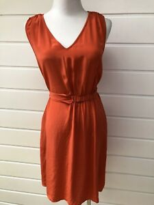 OROTON-Orange-Summery-Sleeveless-Silk-Dress-With-Waist-Tie-Size-10