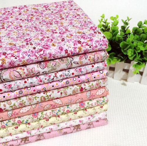 10 Piezas De Algodón Rosa Tela Floral Dots joblot mixto Craft Patchwork