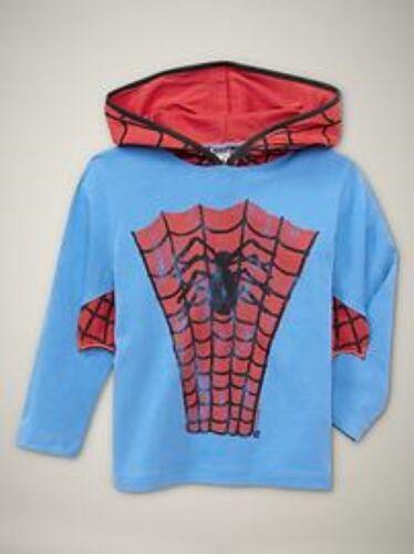 NWT GAP Junk Food Superhero Spider-Man Hoodie Tee Shirt Long Sleeves 18-24 2T 3T