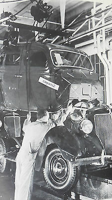 """1936 Ford Assembly Line, Body Frame 12X18"""" Black & White Picture"""