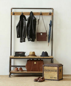 Details About Entryway Hall Tree With Bench Shoe Rack Coat Hooks Rustic Style Metal Pine Wood