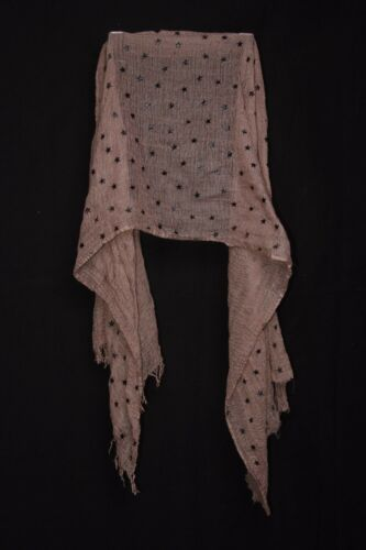 Washed Out Grape W Foiled On Black Stars Cute Girly /& Soft Casual Scarf S220