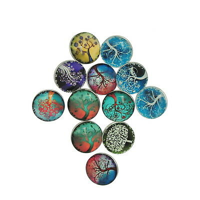12PCs Snap Buttons Fit DIY Bracelets Tree of Life Theme Multicolor Mixed